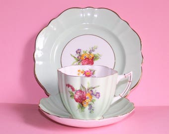 Art Deco 1950's Victoria, Cartwright & Edwards England Bone China Cup, Saucer and Plate (Trio)