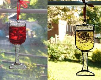 Wine Glass Stained Glass Suncatcher, Wine Decoration, Bar Decor, Wine Glass Ornament, Housewarming Gift, Hostess Gift, Red Wine, White Wine