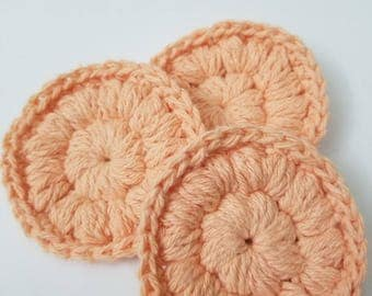 3 Reusable Puff Stitch Crochet Face Scrubbie (Cotton and Polyester blend, peach)
