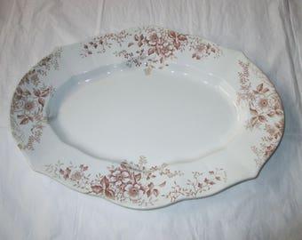 "Antique 17"" F. Winkle SURREY Platter, Aesthetic Brown Flowers Transferware (c. 1891)"