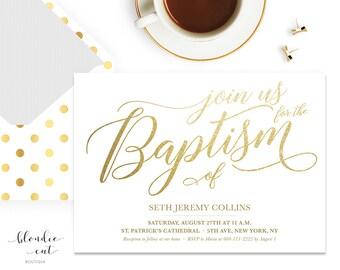 Gold and White Baptism Invitation 5x7 Digital Download, Christening Invitation, Gender Neutral Baptism Invite