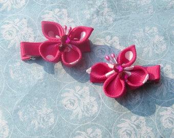Hot Pink Kanzashi butterfly alligator clips