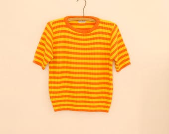 Yellow and Orange Striped Sweater - 1980s