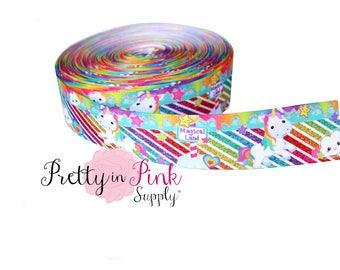 """Rainbow/Unicorn Grosgrain Ribbon- 1.5"""" Grosgrain Ribbon-Craft Supplies- Hair bow Headband D.I.Y Supplies"""