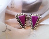 RESERVED FOR MOMO - Vintage 1970's earrings - vintage Mexican sterling silver jewelry - purple onyx inlay jewelry - 1970's vintage earrings