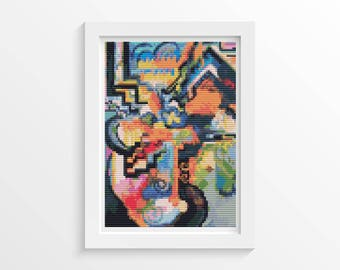 Abstract Cross Stitch Chart, Colored Composition Homage MINI Cross Stitch Pattern PDF, Art Cross Stitch, Abstract, August Macke (TAS140)