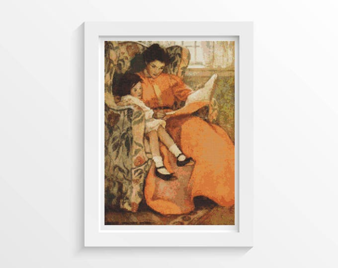 Cross Stitch Pattern PDF by A Rainy Day by Jessie Willcox Smith by Mother and Daughter Cross Stitch by Art Cross Stitch (SMITH02)