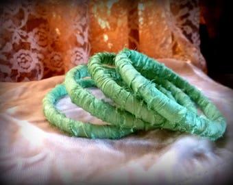 Bangles, Bracelet Set, Mint Green,  Pastel, Handmade,  Shabby Chic, Accessories
