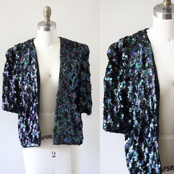 1970s mermaid sequin blazer // vintage sequin blazer // vintage sequin jacket