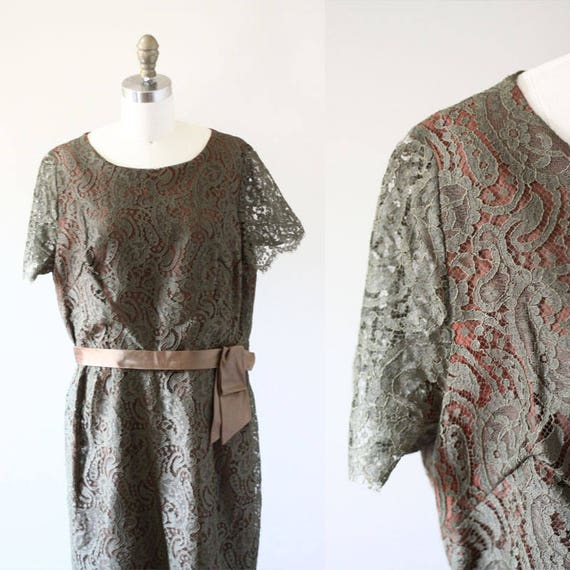 1960s green lace dress // 1950s lace dress // vintage dress