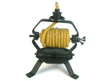 Beeswax CANDLE COIL HOLDER Burner, Wrought Iron, Continuous Coiled Rolled Wax