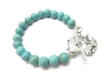 Sacred Elephant Healing Mala Bracelet Yoga Jewelry Turquoise Yoga Bracelet Meditation Mala Gemstone Beads Christmas Stocking Stuffer For Her