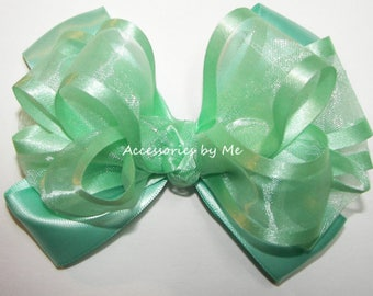 Mint Hair Bow, Mint Green Ribbon Clip, Mint Organza Satin Bow, Mint Green Flower Girl Bows, Mint Green Baby Bow Bands, Easter Mint Bow Bands