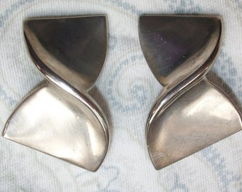 Vintage Givenchy Silver Tone Chunky Clip On Earrings