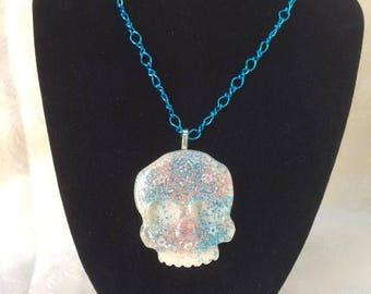 Glitter Skull Necklace