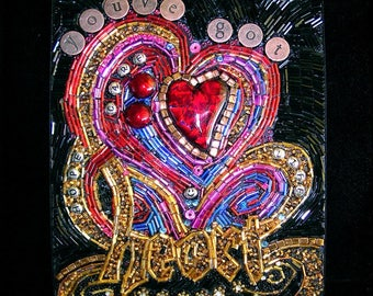 """Beaded Mosaic Art - """"You've got Heart"""" - Red & Gold Heart - Shadowbox"""