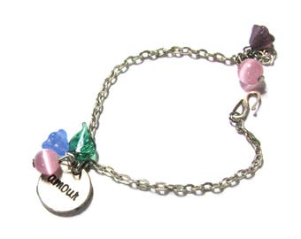Bracelet child flower, blue, purple, pink and green, silver chain