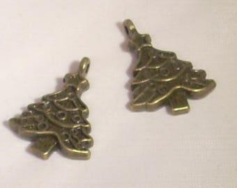 set of 2 Christmas tree Christmas Tibetan charm bronze 23mm