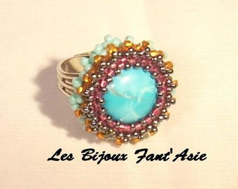 Turquoise gemstone ring embroidered on stone cabochon and Japanese beads adjustable