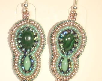 Embroidered in natural gemstone malachite and turquoise earrings
