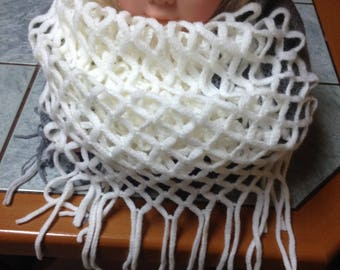 2 in 1 scarf or snood 2 tone grey and ecru wool