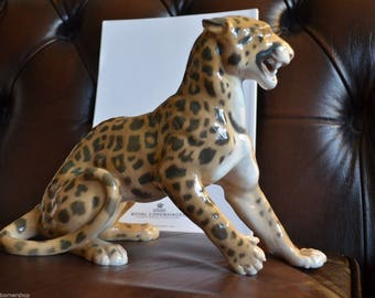 Extremely Rare Bing & Grondahl B and G Leopard Figurine Sculpture Royal Copenhagen