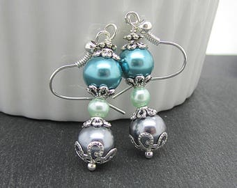 Grey Teal and Mint Bridal Jewellery, Teal Bridesmaid Earrings, Grey Wedding Jewellery, Bridesmaid Gifts, Pearl Dangles, Matching Bridal Sets