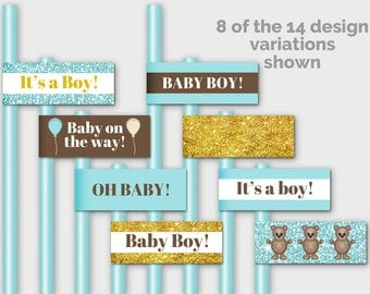 Printable Straw Flags, Cupcake Toppers, Cupcake Flags, Baby Boy Shower Food Flags, Teddy Bear Baby Shower Decor, Aqua Brown Gold - PP7