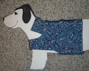 """Cotton Dog Walking Harness, Blue Bandanna Doggies with cute lining for small dogs 14-18 lbs. Girth 19.5"""""""