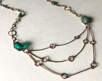 Turquoise & Glass Bead Copper Chain Bib Necklace