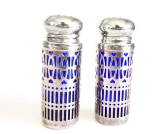 Silver Cobalt Blue Glass Shakers - British 1940's Salt Pepper Shakers -  Lattice Sterling Plate - Open Metalwork - Patent No - Wedding Gift