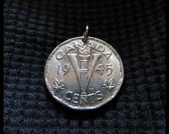 "Classic Antique (1945 Vintage: Double-sided King George VI, Canadian BEAVER & Maple Leaf, 5c ""V"" Charm Pendant, Hypoallergenic Bail) CANADA!"