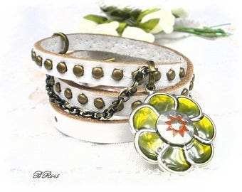 Flower BR645 studded white genuine leather bracelet