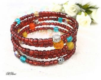Bracelet red seed bead MULTISTRAND BR660