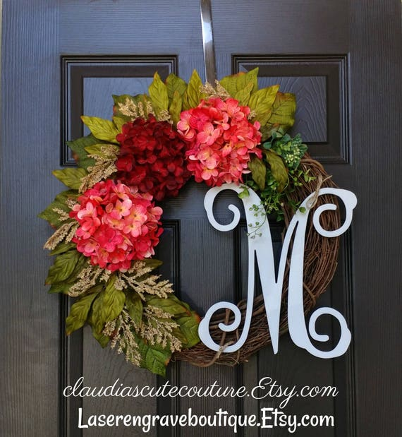 Fall Grapevine Wreath,Front Door Wreath,Hydrangea Wreath,Grapevine Wreath,Monogram Wreath,Summer Wreath,Wreath for Door,Year Round Wreath