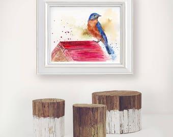 Bluebird art print: eastern bluebird painting, bluebird wall decor, bird watercolor, bird art, backyard birds, bluebird lover gift