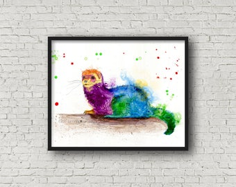 Ferret art print - ferret animal art, ferret wall decor, ferret lover gift, ferret spirit animal art, spirit animal art