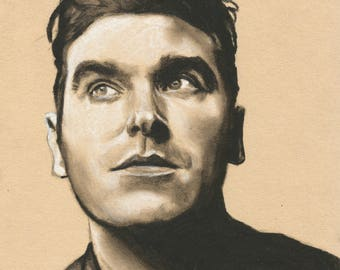Original A4 charcoal drawing of Morrissey.