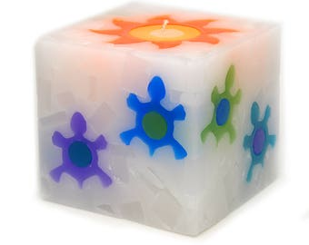 Cosmic Candles Turtle Square Pillar Unscented 4x4
