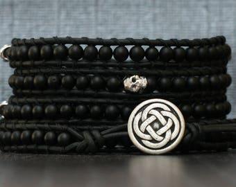 skull jewelry -  wrap bracelet- silver skulls and obsidian on black leather - rocker - mens jewelry - womens jewelry
