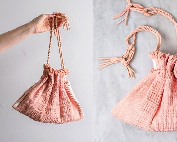 vintage 1940s rag rug purse | 1940s pink purse | 1950s handbag | carpet bag drawstring purse
