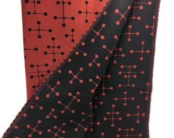 Eames Large Dot Upholstery Fabric * Maharam Yardage * Black Dots on Red
