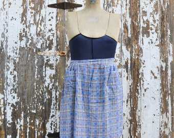 Vintage Half Apron - Blue Red Plaid Feed Sack Fabric Farm Kitchen Style with Pockets