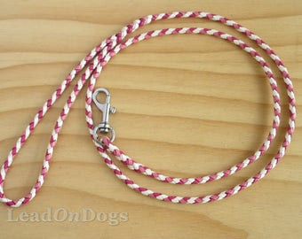 Lace Dog Show Leash Braided in White, Pink & Light Pink Kangaroo Leather Lace with Small Clip - Lead On Jeddah