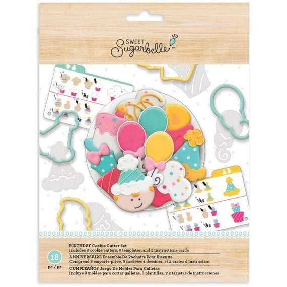 Sweet Sugarbelle 18 piece birthday cookie cutters make birthday cakes, cupcakes, party hats, balloons, and so more