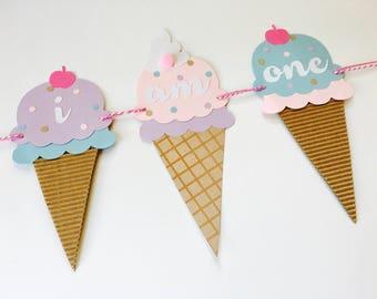 Ice Cream Social I AM ONE High Chair Banner - Sundae Social - 1st Birthday