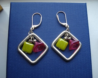 Silver square earrings with pink flower and green square bead to centre