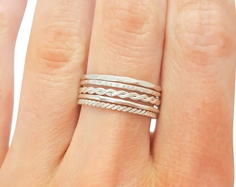 Thin Stacker Rings- Sterling Silver, Set of 5