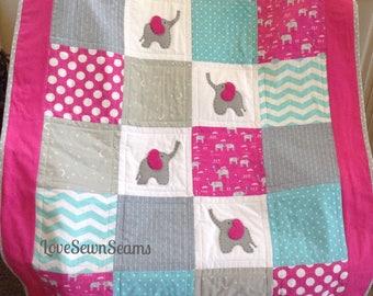 ELEPHANTS/Elephant quilt/Hot Pink elephants/handmade Baby quilt