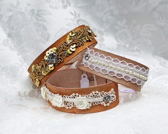 Leather Bangles, Three Leather Bracelet Bangles with Trims and Rhinestone Rivets